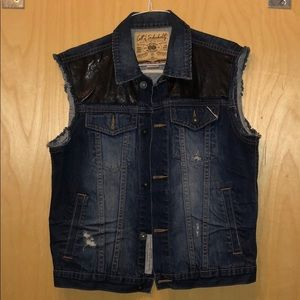 Cult of Individuality denim vest (leather chest)